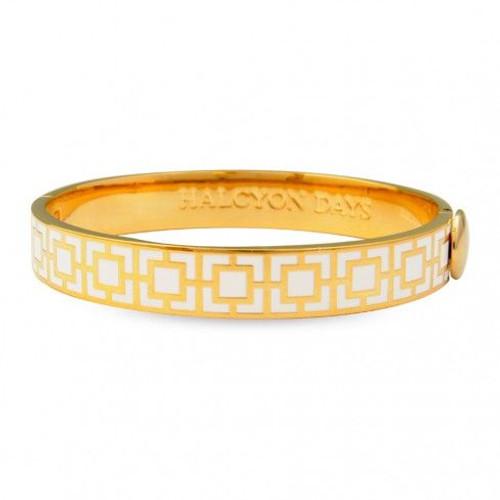Halcyon Days 10Mm Mosaic Bangle Bracelet Cream Gold