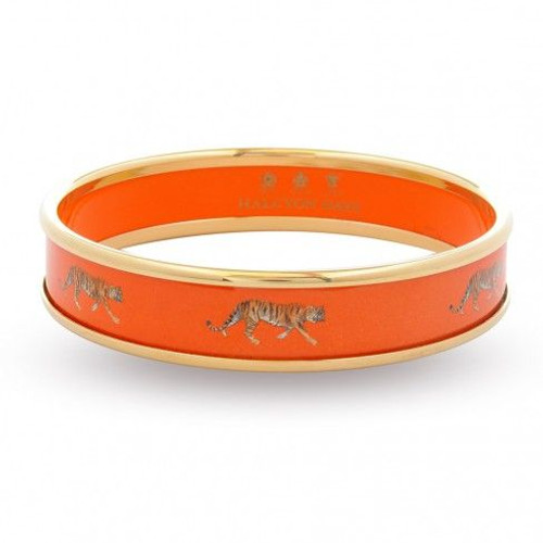 Halcyon Days 1Cm Tiger On Orange Bangle Bracelet Small