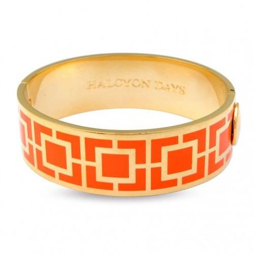 Halcyon Days 20Mm Maya Bangle Bracelet Orange Gold