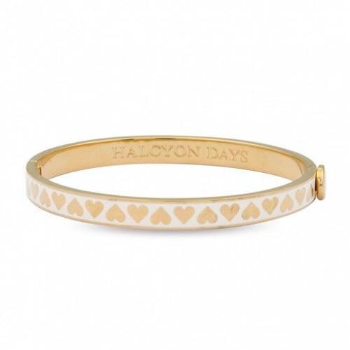 Halcyon Days 6Mm Skinny Heart Cream Gold Bangle Bracelet