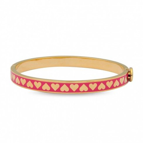 Halcyon Days 6Mm Skinny Heart Hot Pink Gold Bangle Bracelet