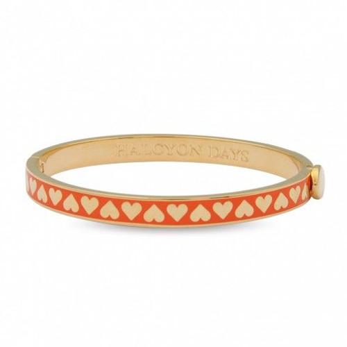 Halcyon Days 6Mm Skinny Heart Orange Gold Bangle Bracelet