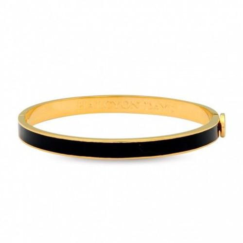 Halcyon Days 6Mm Skinny Plain Bangle Bracelet Black Gold
