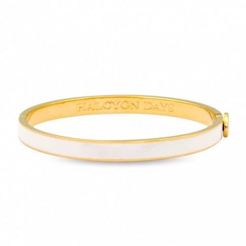Halcyon Days 6Mm Skinny Plain Bangle Bracelet Cream Gold
