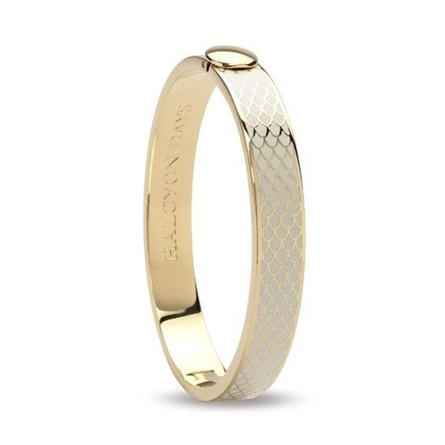 Halcyon Days Bangle 1Cm Salamander Cream & Gold