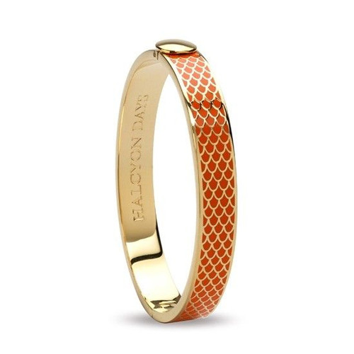 Halcyon Days Bangle 1Cm Salamander Orange & Gold