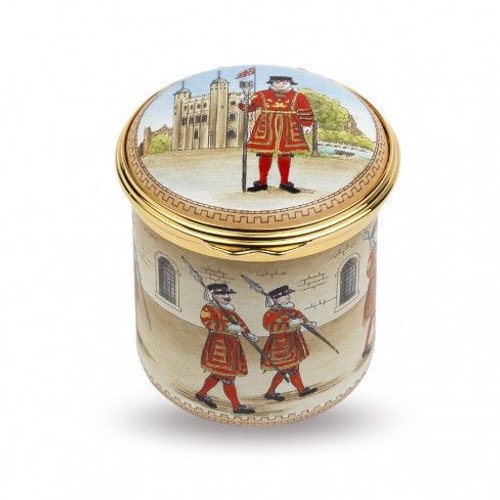 Halcyon Days Beefeaters At The Tower of London Enamel Box