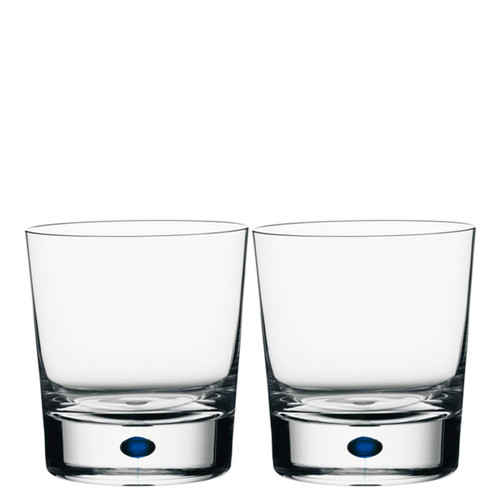 Orrefors Intermezzo Blue Double Old Fashion Pair
