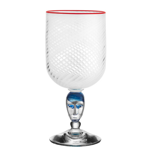 Kosta Boda Red Rim Brains Footed Vase White