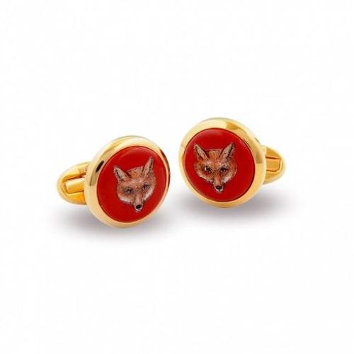 Halcyon Days Fox Head Red Gold Round Cufflinks CLFOX06RDG