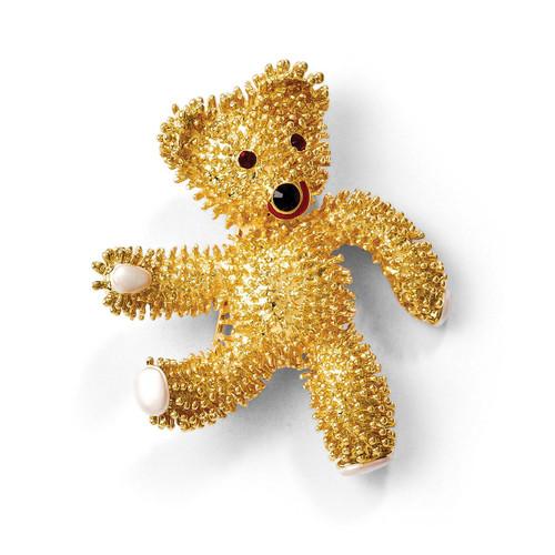 Jackie Kennedy Teddy Bear w/Swarovski Crystals Brooch