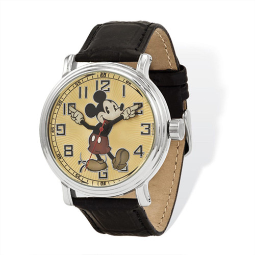 Disney Black Leather with Moving Arms Mickey Mouse Watch Adult Size XWA4390