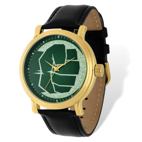 Marvel Hulk Black Leather Band Gold-tone Watch Adult Size MPN: XWA4980