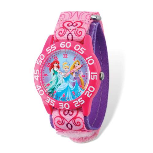 Disney Princesses Acrylic Pink Nylon Time Teacher Watch  XWA5113