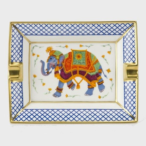 Halcyon Days Indian Elephant Ashtray Trellis