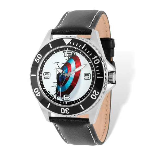 Marvel Avengers Capn America Black Strap Watch Adult Size MPN: XWA5207