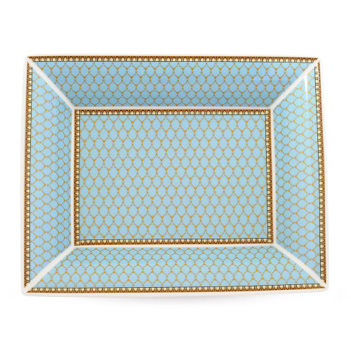 Halcyon Days Antler Trellis Tray Blue Trinket Tray