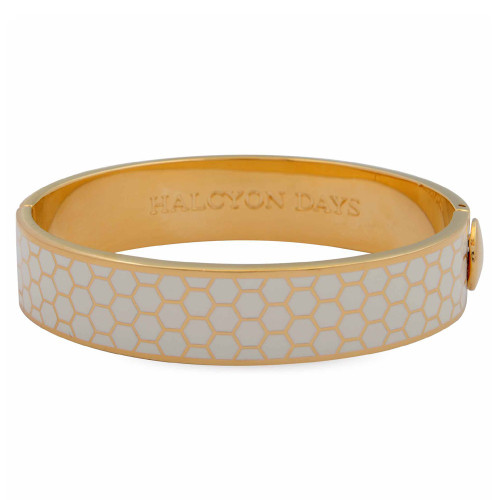 Halcyon Days Honeycomb Cream Gold 13mm Hinged Bangle