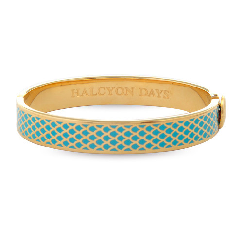 Halcyon Days Salamander Turquoise Gold 1cm Hinged Bangle HBSAL1410G