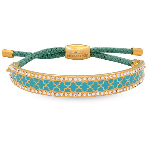 Halcyon Days Agama Sparkle Turquoise Gold 1cm Friendship Bangle
