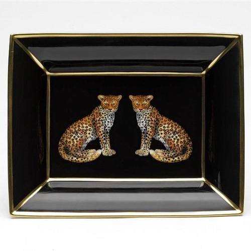 Halcyon Days Leopard Trinket Tray BCMWL02TTG