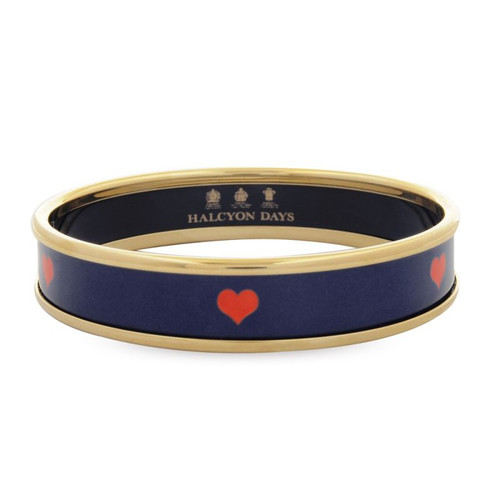Halcyon Days Red Heart On Navy Bangle Small