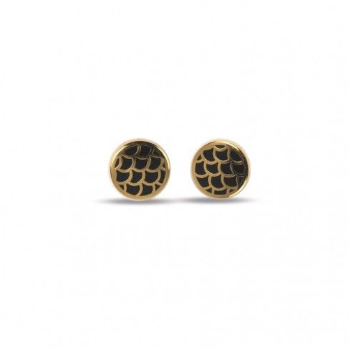 Halcyon Days Stud Earrings Salamander Black Gold