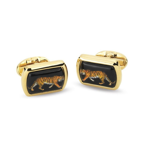 Halcyon Days Tiger Gilt Rectangle Cufflinks CLMWT02RTG