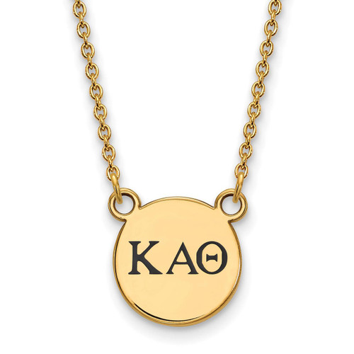 Kappa Alpha Theta Extra Small Enameled Pendant with 18 Inch Chain Gold-plated Silver GP016KAT-18