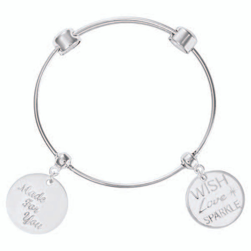 Nikki Lissoni Charm Bangle with Two Fixed Charms Made For You with Passion Wish. Love. Sparkle. Silver-Plated 17cm 6.7 inch MPN: B1080S17 EAN: 8718819236788