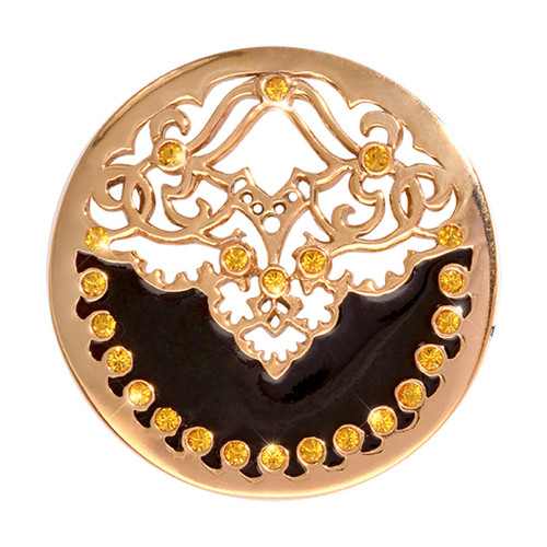 Nikki Lissoni Black Velvet Gold-Plated 33mm Coin C1159GM