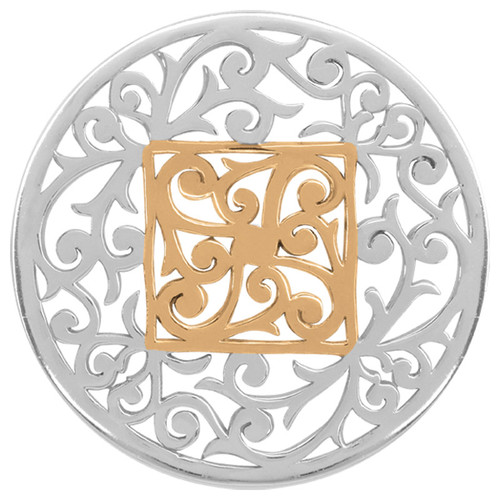 Nikki Lissoni Large Square Fantasy Silver Gold-Plated 43mm Coin C1206SL