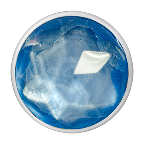Nikki Lissoni Faceted Light Blue Glass Silver-Plated 33mm Coin C1367SM