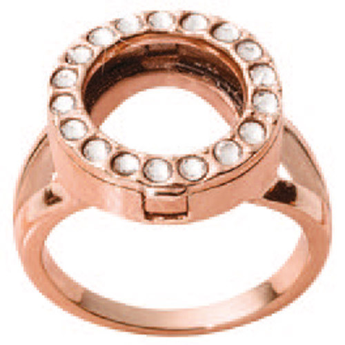 Nikki Lissoni Interchangeable Ring with Swarovski Stones Rose Gold-Plated Size 8 R1004RG8