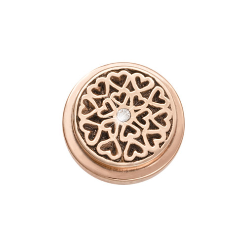 Nikki Lissoni Rose Gold-Plated Hearts All Over Coin That Fits S Rings RC2015RG