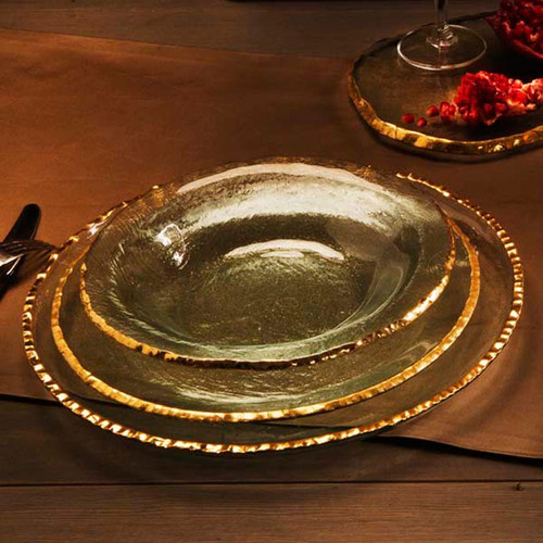 Annieglass Edgey Dinner Plate 10 Inch - Gold