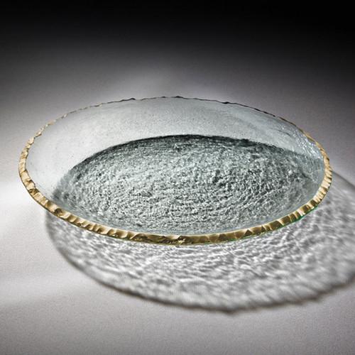 Annieglass Edgey Round Platter 13 1/2 Inch - Gold