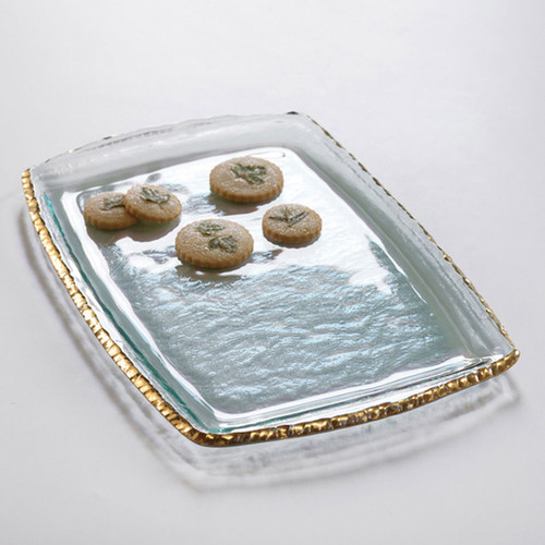 Annieglass Edgey Martini Tray 17 1/4 x 11 1/2 Inch - Gold