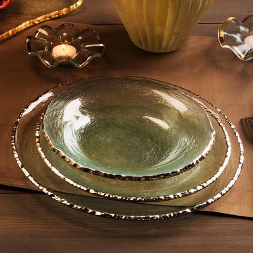 Annieglass Edgey Soup Bowl 9 Inch - Platinum
