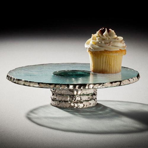Annieglass Edgey Cupcake Stand 9 1/2 Inch - Platinum