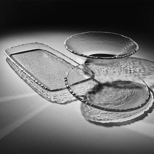 Annieglass Edgey Round Bowl 13 1/2 Inch - Platinum