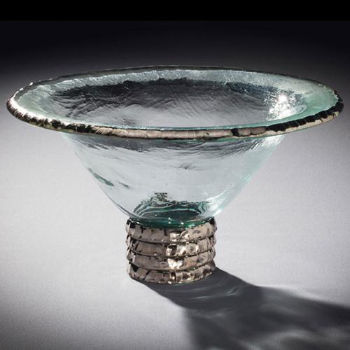 Annieglass Edgey Trophy Bowl 11 1/2 Inch - Platinum