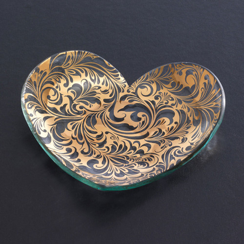 Annieglass Hearts Plate Florentine 7 Inch - Gold