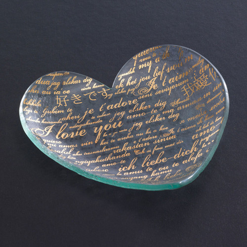 Annieglass Hearts Plate Sweet Nothings 7 Inch - Gold