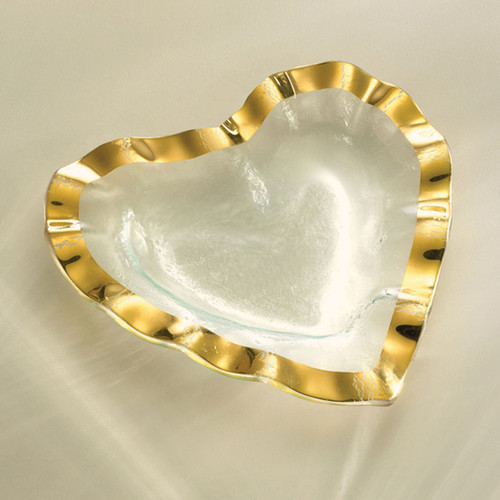 Annieglass Hearts Ruffle Bowl 7 Inch - Gold