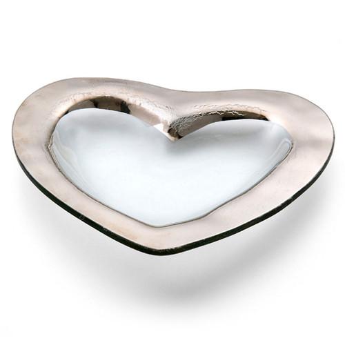 Annieglass Hearts Bowl 8 Inch - Platinum