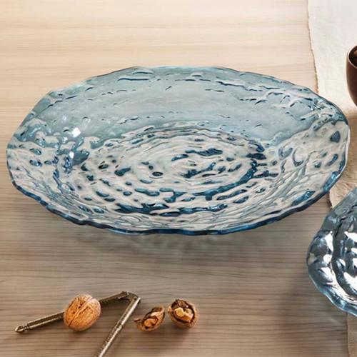 Annieglass Indigo Round Shallow Bowl / Platter 19 Inch