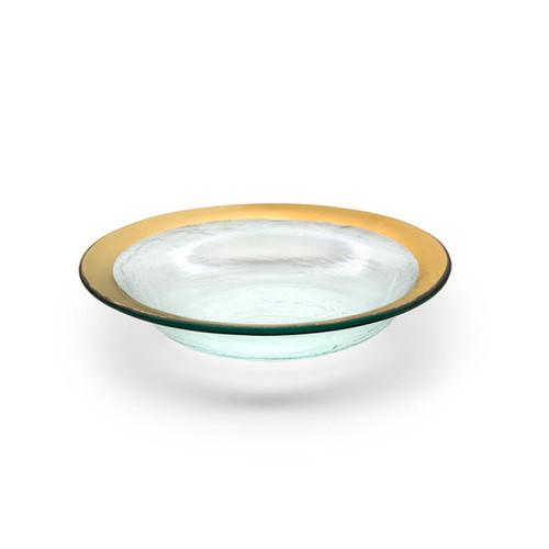 Annieglass Gold Roman Antique Deep Bowl 15 Oz 9 Inch