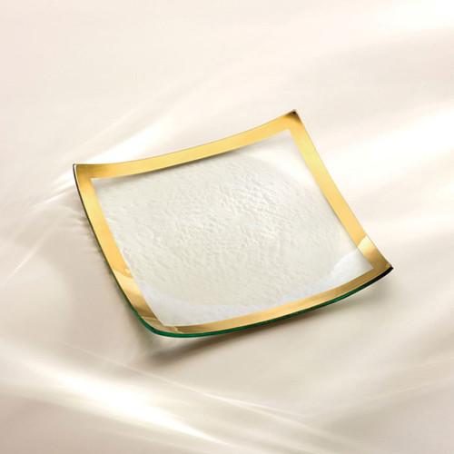 Annieglass Gold Roman Antique Square Plate 10 x 10 Inch
