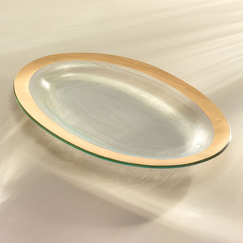 Annieglass Gold Roman Antique Large Oval Platter 11 x 17 Inch